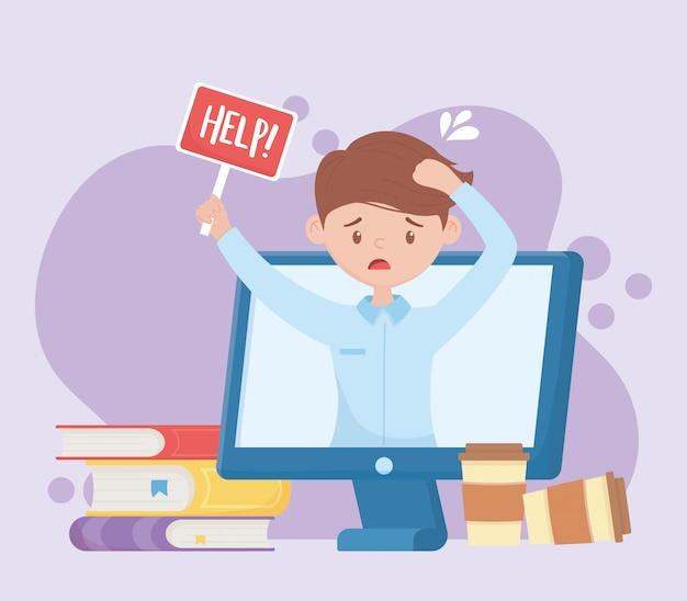 Stres w pracy, pracownik przy pomocy podpisywania pracy przy komputerze wideo