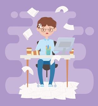 Stres w pracy, wyczerpany biznesmen siedzi w biurze