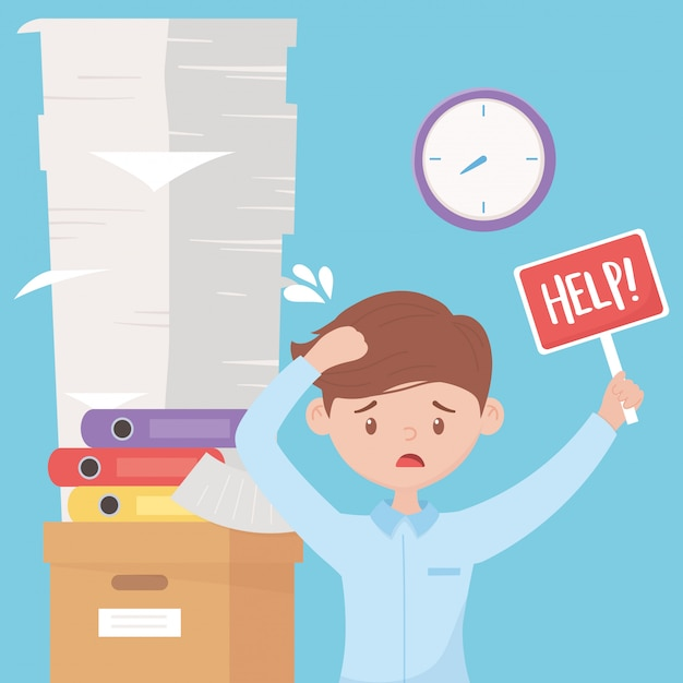 Stres w pracy, zestresowany pracownik ze stosem pomocy segregatorów dokumentów na pudełku i zegarze