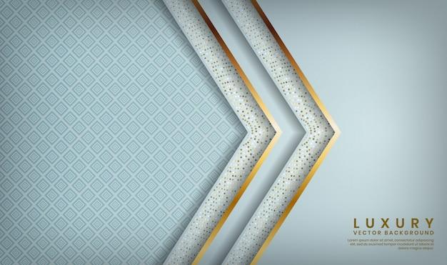 Streszczenie 3d biała luksusowa warstwa nakłada się ze złotymi liniami i błyszczącymi kropkami dekoracji