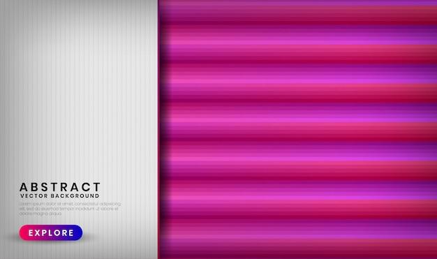 Streszczenie 3d białe tło nakładają się warstwy z kolorowymi gradientowymi kształtami geometrycznymi z mieszaniem różowego i fioletowego koloru