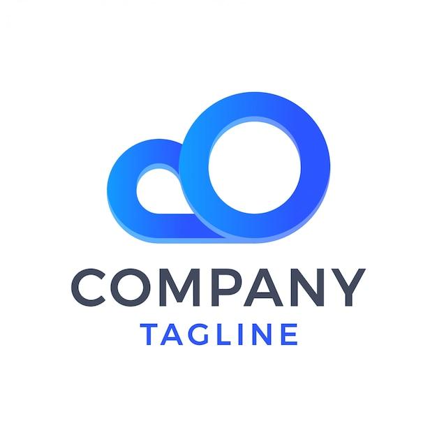 Streszczenie 3d chmura proste monoline gradientowe logo