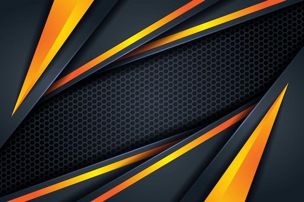 Streszczenie 3d ciemne tło nakładają się trójkątny kształt żółtej linii trójkąt, z sześciokątnym wzorem siatki nowoczesne futurystyczne tło technologii