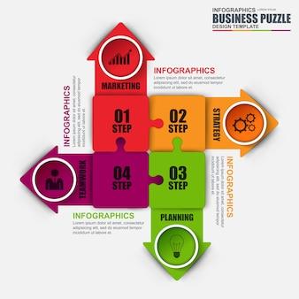 Streszczenie 3d cyfrowy biznes minimal jigsaw infographic. może być stosowany do przepływu pracy.