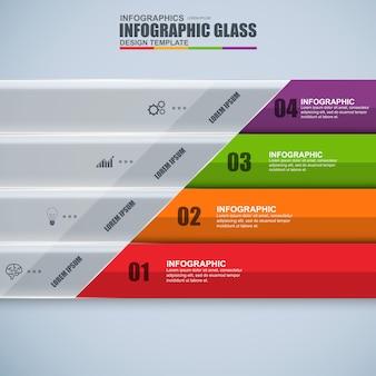 Streszczenie 3d cyfrowy biznes szkło infographic