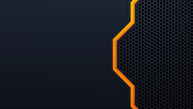 Streszczenie 3d czarne tło technologii nakładają się na warstwy na ciemnej przestrzeni z dekoracją z pomarańczowym efektem świetlnym. nowoczesne elementy szablonu projektu graficznego dla plakatu, ulotki, broszury lub banera