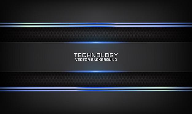 Streszczenie 3d czarne tło technologii z efektem światła niebieskiego na ciemnej przestrzeni