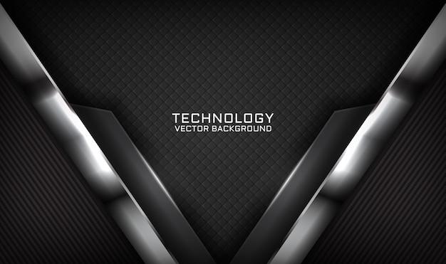 Streszczenie 3d czarne tło technologii z efektem świetlnym na ciemno