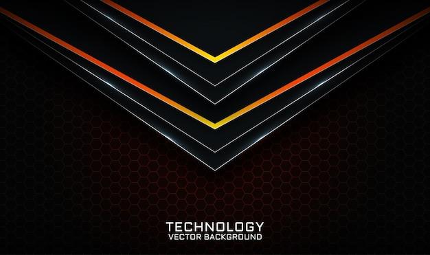 Streszczenie 3d czarno-pomarańczowe tło technologii nakłada się na warstwę z efektem linii świetlnych