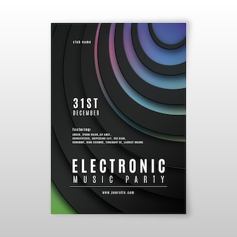 Streszczenie 3d efekt szablonu plakat muzyka elektroniczna