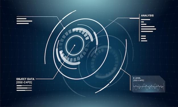 Streszczenie 3d futurystyczna technologia elementy koła hud. cyfrowy projekt ekranu interfejsu cyberpunk. panel infografiki techno. ilustracja wektorowa nauki i technologii gui ui pulpitu nawigacyjnego eps