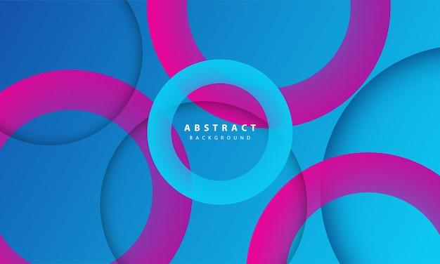 Streszczenie 3d koło papieru cięcia warstwy gradientu tła niebieski i fioletowy kolor. elegancki kształt koła.