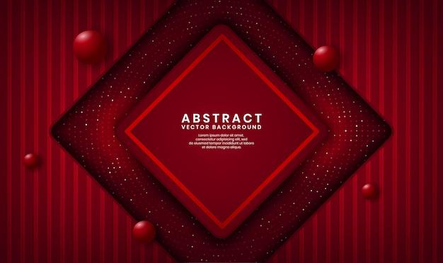 Streszczenie 3d luksusowy romb czerwone tło nakładają się warstwy na ciemnej przestrzeni z kropkami brokatu i drewna teksturowanego kształtu