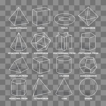 Streszczenie 3d matematyka kształty geometryczne kształty na białym tle