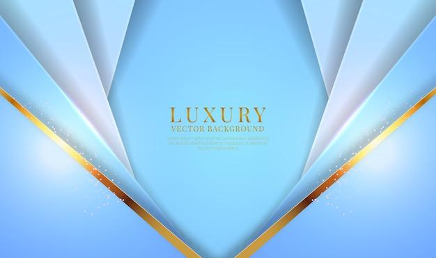 Streszczenie 3d niebieskie tło luksusowe z efektem złote metalowe linie