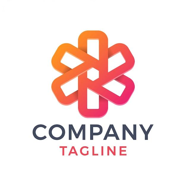 Streszczenie 3d nowoczesny krzyż monoline geometryczne logo gradientu