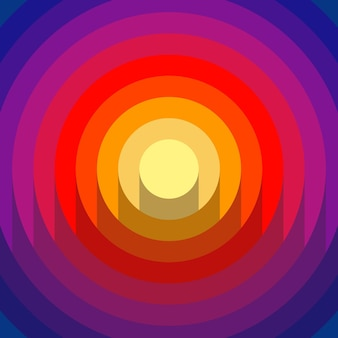 Streszczenie 3d papercut z cieniami gradientu koła tła. kolory żółty, różowy, czerwony i niebieski. wektor nowoczesny design.