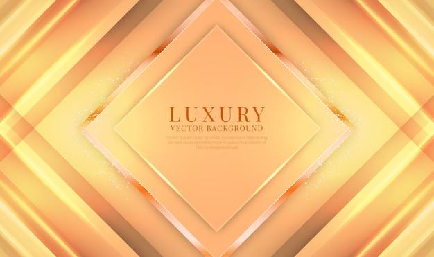 Streszczenie 3d pomarańczowe tło luksusowe z błyszczącym metalicznym efektem rombu