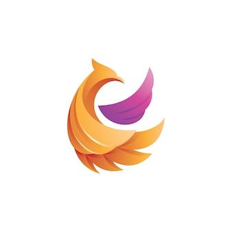 Streszczenie 3d skrzydło ptaka gradientu logo