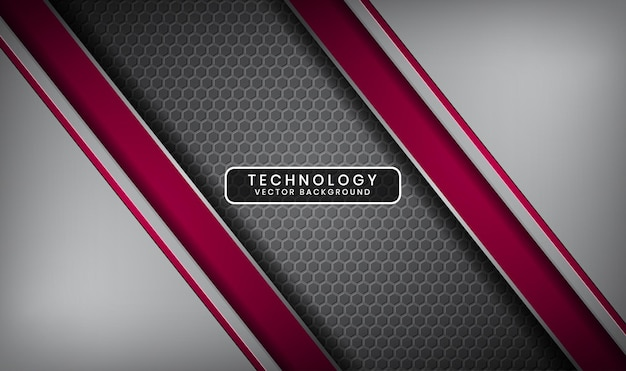 Streszczenie 3d srebrnym i czerwonym tle technologii z nakładającą się warstwą i metalowymi sześciokątami