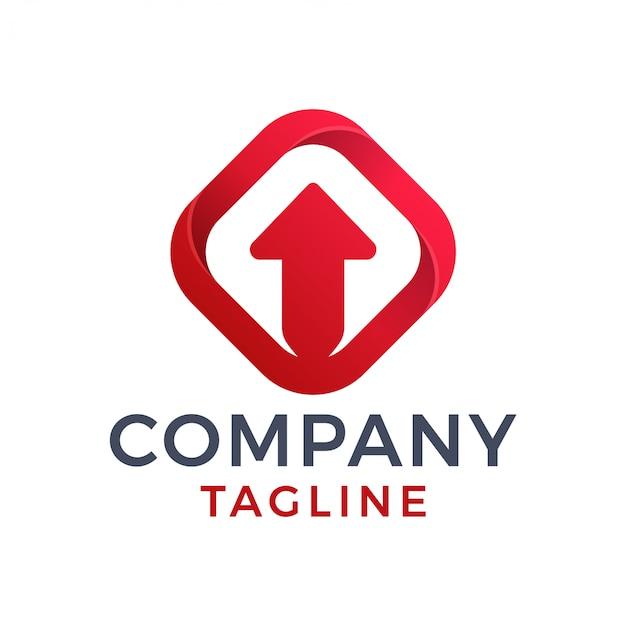 Streszczenie 3d Strzałka W Górę Czerwony Kwadrat Diamentu Logo Gradientu Premium Wektorów