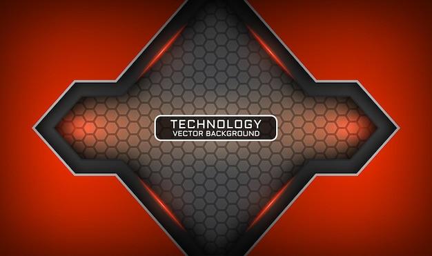 Streszczenie 3d szare i pomarańczowe tło technologii, nakładają się warstwy z efektem świetlnym