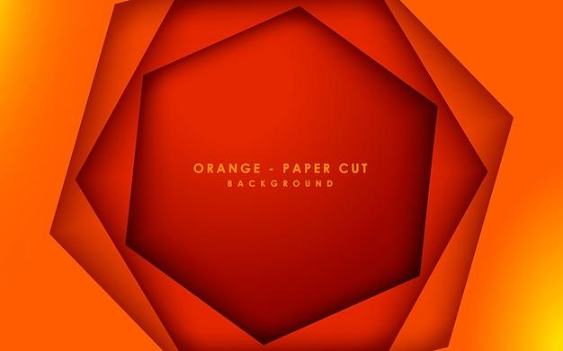 Streszczenie 3d sześciokąt pomarańczowy papercut tło