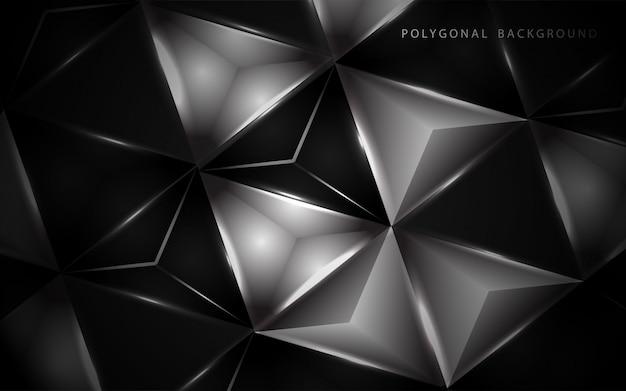 Streszczenie 3d wielokąt czarno-białe tło niskiej
