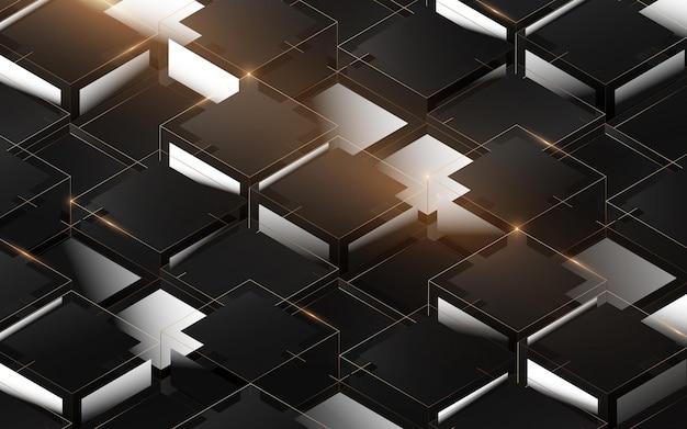 Streszczenie 3d wzór struktury pola luksusu. eleganckie złote, czarno-białe geometryczne tło. ilustracja wektorowa