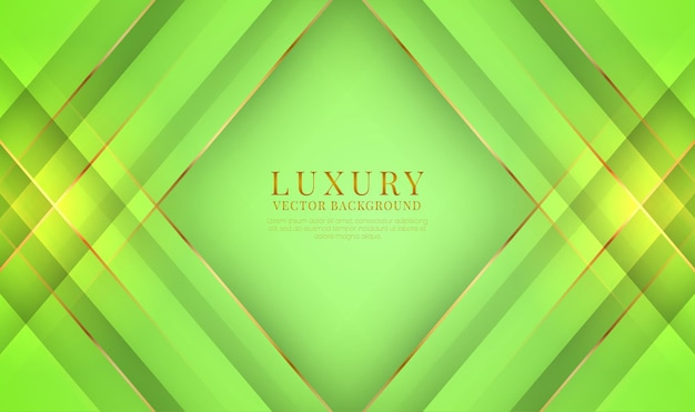 Streszczenie 3d zielony luksusowy tło nakłada się warstwa z efektem złote metalowe linie