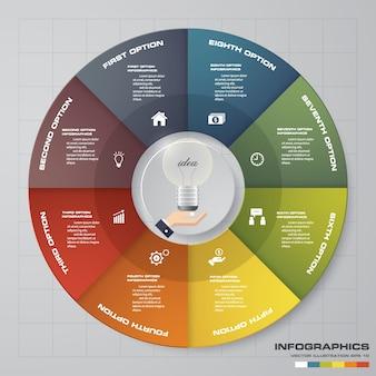 Streszczenie 8 kroków nowoczesny plansza wykres kołowy elementów.