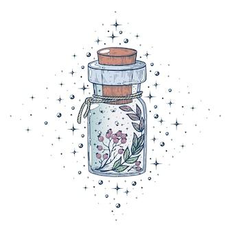 Streszczenie aethiopicum alchemik alchemia aptekarz tło jagoda kwitnąca butelka kreskówka
