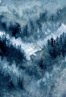Streszczenie akwarela mglisty las sosnowy z ciemnego nieba
