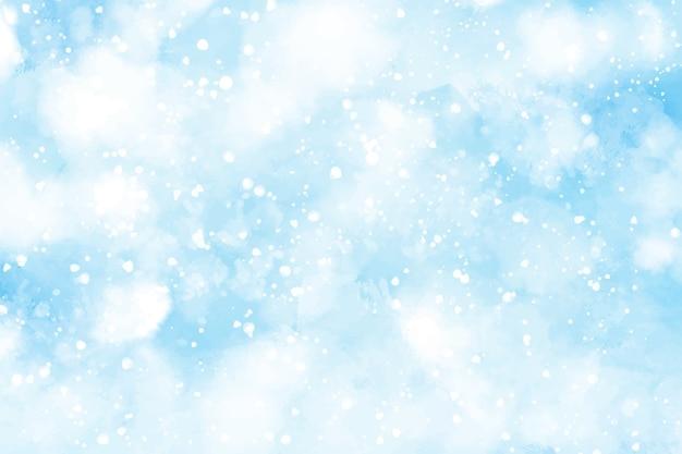 Streszczenie akwarela padający śnieg na boże narodzenie i zimę