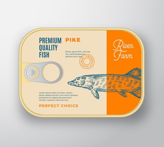Streszczenie aluminiowy pojemnik na ryby z pokrywą etykiety. opakowanie w puszkach retro premium.