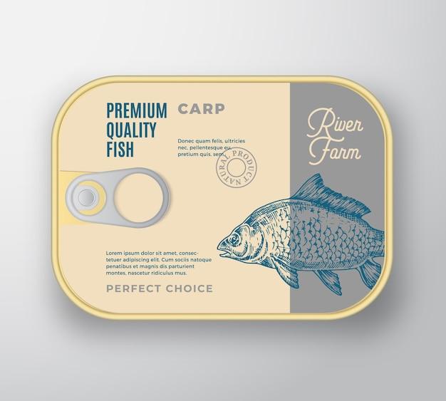 Streszczenie aluminiowy pojemnik na ryby z pokrywą etykiety.