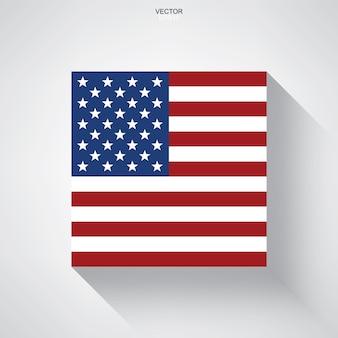 Streszczenie amerykańskiej flagi z efektem długiego cienia na białym tle.