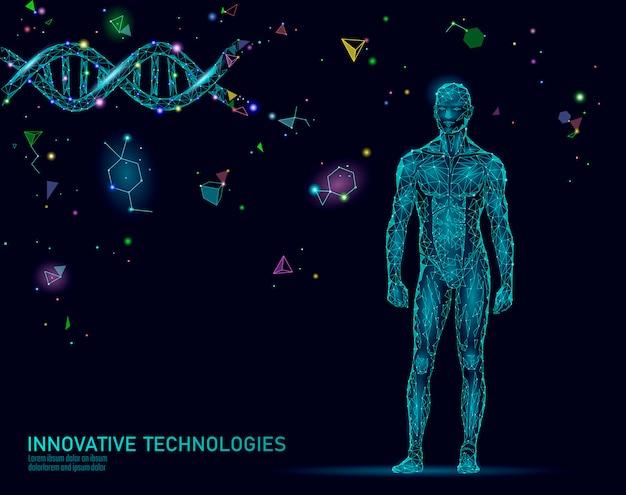 Streszczenie anatomii ludzkiego ciała. inżynieria dna innowacja superman technologia. genomowe badania nad zdrowiem klonowanie medycyny low poly renderują wielokątną geometryczną wirtualną rzeczywistość