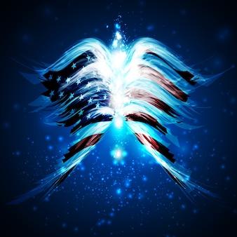 Streszczenie anielskie skrzydła z amerykańską flagą na błyszczącym tle przestrzeni