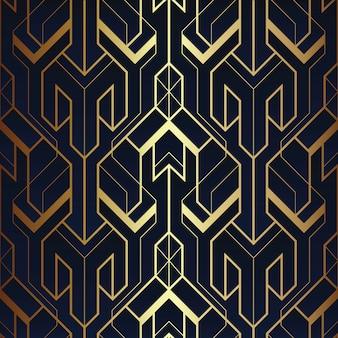 Streszczenie art deco bezszwowe niebieski i złoty wzór