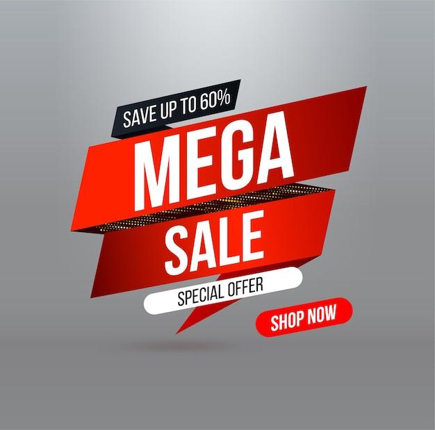 Streszczenie baner sprzedaży mega z efektem brokatu złotego półtonu na oferty specjalne