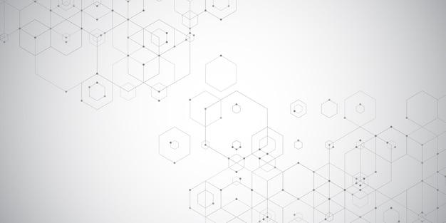 Streszczenie baner techno z sześciokątnym wzorem