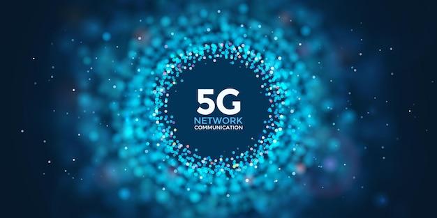 Streszczenie baneru internetowego 5g. koncepcja usługi bezprzewodowej telefonii komórkowej piątej generacji. sieć społeczna. rozmyj kropki na ciemnoniebieskim tle