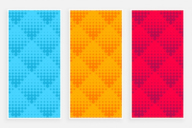 Streszczenie banery wzór półtonów w różnych kolorach
