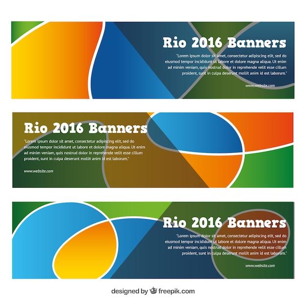 Streszczenie banery zestaw olimpic gier