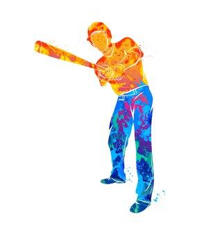 Streszczenie baseballista uderzając piłkę z akwareli rozchlapać