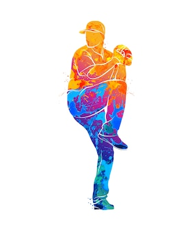 Streszczenie baseballista uderzając piłkę z splash akwareli. ilustracja farb.