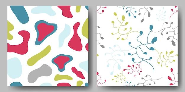 Streszczenie bezszwowe kwiatowy i abstrakcyjny wzór bez szwu o różnych kolorowych kształtach geometrycznych