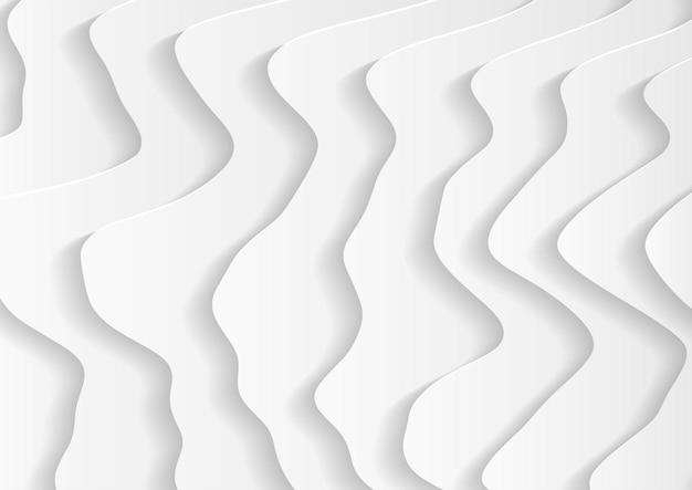 Streszczenie białe tło fala w stylu papercut, abstrakcyjne tło w odcieniach bieli i szarości