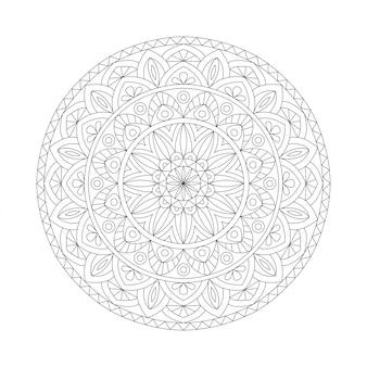 Streszczenie biały czarny element. okrągła mandala w wektorze. szablon graficzny do projektowania. szyk kołowy